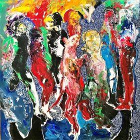 Peinture - Soly Cissé - Personnages - Rouge, jaune, bleu, vert, rose