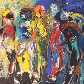 Peinture - Soly Cissé - Personnages - jaune, orange, rouge, bleu, marron, blanc
