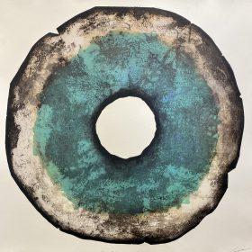 Gravure - Thomas Godin - rond - bleu, noir, blanc - contours noirs - encadré