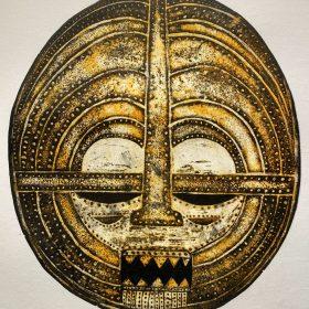 Gravure - Thomas Godin - Masque - doré - encadré