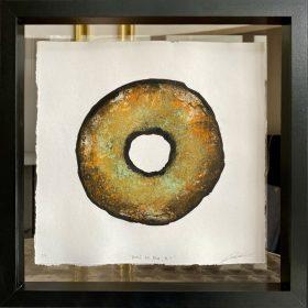 Gravure - Thomas Godin - rond -marron, doré, vert - contours noirs - encadré