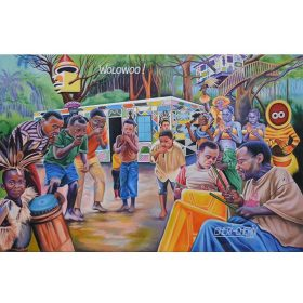 Peinture - Chéri Chérin - Enfants et adultes - jouent de la musique - dansent - batiment coloré