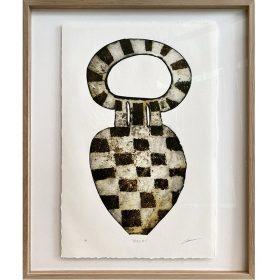 Gravure - Thomas Godin - Vase - Carrés blancs et noirs - encadré