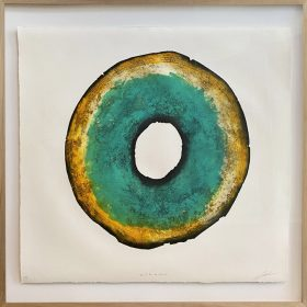 Gravure - Thomas Godin - rond - bleu/turquoise, doré, blanc - contours noirs - portées de musique - encadré