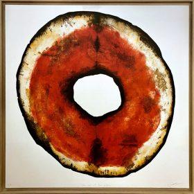 Gravure - Thomas Godin - rond - rouge, doré, blanc - contours noirs - encadré