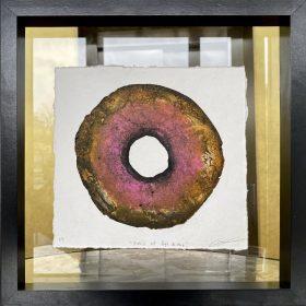 Gravure - Thomas Godin - rond - rose, doré - contours noirs - encadré