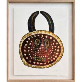 Gravure - Thomas Godin - masque - rouge, doré, blanc, noir - cornes - points, triangles - encadré