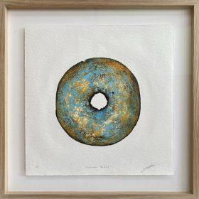 Gravure - Thomas Godin - rond - bleu, doré, orange, blanc - contours noirs - portées de musique - encadré