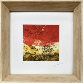 Gravure - Thomas Godin - Rouge, jaune - portées de musique - encadrée
