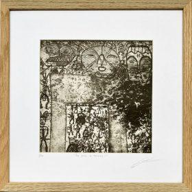 Gravure - Thomas Godin - Noir et blanc - encadrée - masques - personnages