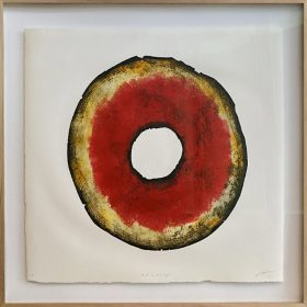Gravure - Thomas Godin - rond - rouge, doré, blanc - contours noirs - encadré - portées de musique