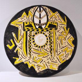Sculpture - Marc Piano - dessous de plat - jaune, noir, blanc