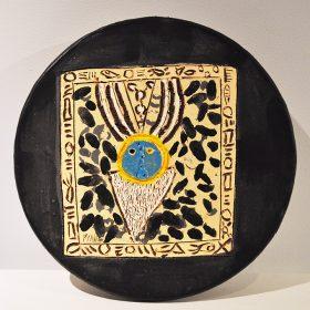 Sculpture - Marc Piano - dessous de plat - noir, jaune, bleu, blanc