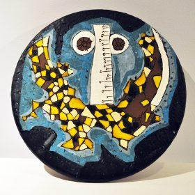 Sculpture - Marc Piano - dessous de plat - jaune, marron, blanc, bleu