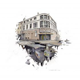 Impression - dessin Wen2 - Comoedia - upside down - exposition