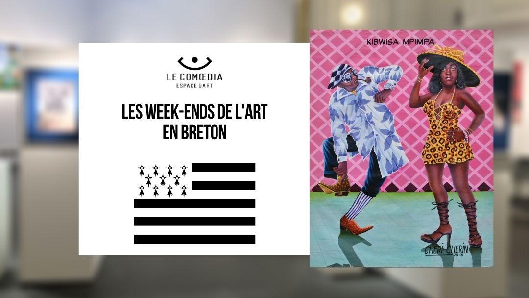 Affiche week-ends de l'art - en breton - drapeau breton - Peinture de Chéri Chérie - Fond comoedia flou