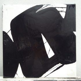 Peinture - Cali REZO - Formes noires - filaments noirs - fond blanc