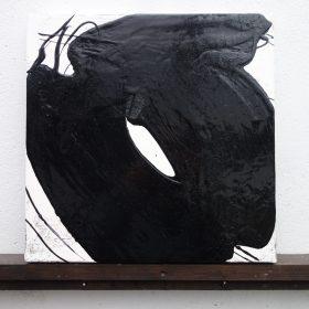 Peinture - Cali REZO - Formes rondes noires - filaments noirs - fond blanc