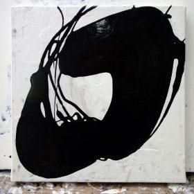 Peinture - Cali REZO - Formes éparses noires - filaments noirs - fond blanc