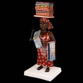 Sculpture couleur - Didier AHADJI - Femme africaine - tissus sur la tête