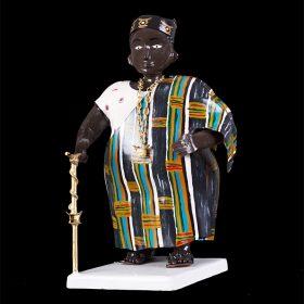 Sculpture - Didier AHADJI - Homme africain - tenue traditionnel - canne en or - chaine en or
