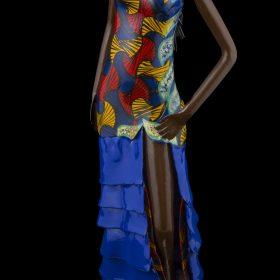 Sculpture - Didier AHADJI - Femme africaine - Robe bustier à motifs et volants